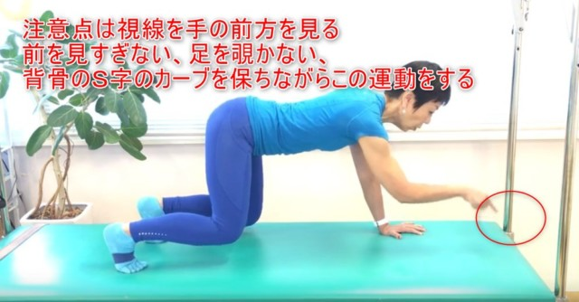 10-09_注意点は視線を手の前方を見る前を見すぎない、足を覗かない、背骨のS字のカーブを保ちながらこの運動をする