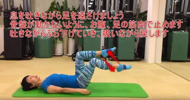 16-04_息を吐きながら足を遠ざけましょう骨盤が動かないように、お腹、足の筋肉で止めます吐きながらぶら下げていき、吸いながら戻します