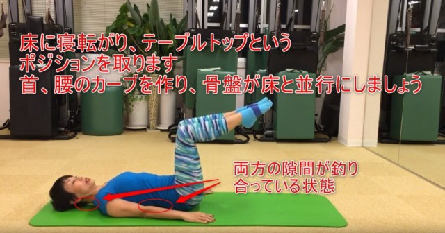 16-03_床に寝転がり、テーブルトップというポジションを取ります首、腰のカーブを作り、骨盤が床と並行にしましょう