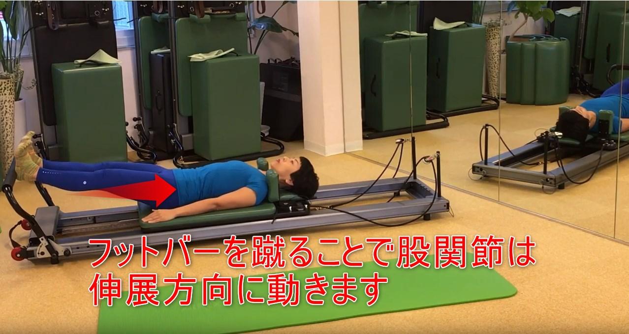 40-06_フットバーを蹴ることで股関節は伸展方向に動きます